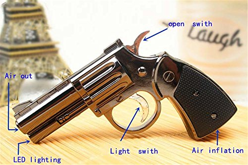 FengFang anti-gun lighters LED lighting pistol model reusable inflatable butane cigar (Brass Designer Series)
