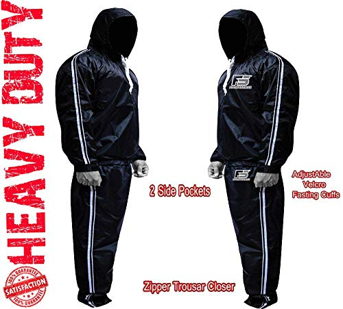 FIGHTSENSE MMA Sauna Sweat Suit Non Rip Track Weight Loss Slimming Fitness Gym Exercise Training (Silver Hoodies & Pants, 6XL)