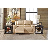 Signature Design by Ashley 2920286 Galaxy Contemporary Manual Pull Tab Reclining Yancy Leather Upholstered Reclining Loveseat