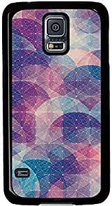 Abstract Circles Connected Dots Pattern Samsung Galaxy S5 Case Durable Protective Case for Black Cover Skin - Compatible With Samsung Galaxy S5 SV i9600