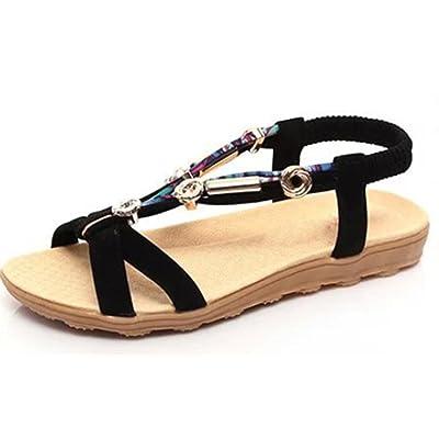 sandalias de verano sandalias abiertas de las mujeres flores femeninas moldeado sandalias planas