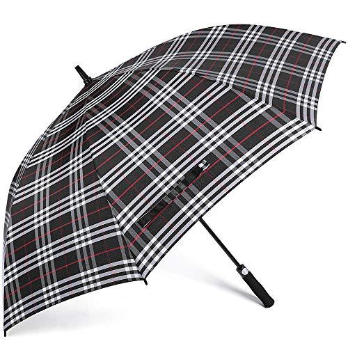 G4Free Automatic Open Golf Umbrella 62 Inch Oversize Windproof Waterproof Stick Umbrellas for Men Women(Red Plaid)