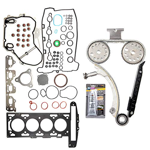 cciyu Engine Timing Chain Kit(TK10422) Head Gasket Set (HS26223PT-5) for 07-08 Chevrolet Cobalt HHR Malibu Pontiac G5 2.2L ()