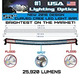 No.1 52 inch Curved 300W CREE LED Light Bar by USA Lighting OpticsTM made for Extreme Offroading spot flood combo beam 25920LM Trucks 4x4 radius fog Jeep Truck SUV FREE LED LIGHT BAR ROCKER SWITCH KIT