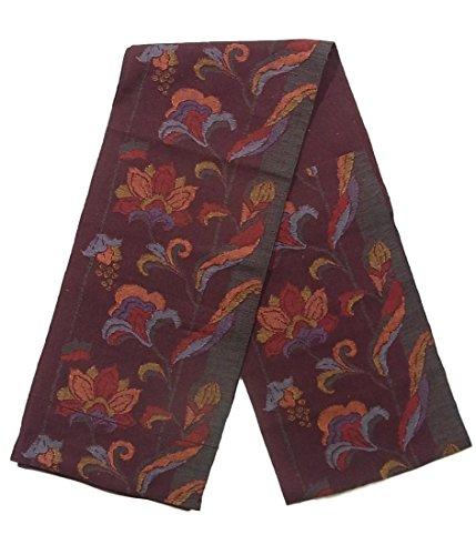 寛大な豚パラメータリサイクル 名古屋帯 紬 八寸 縞に唐花文 正絹