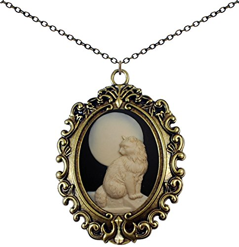 Yspace Antique Brass Necklace Cameo Big Pendant Jewelry 2 Chain Deluxe Pouch Gift (Moon Cat)