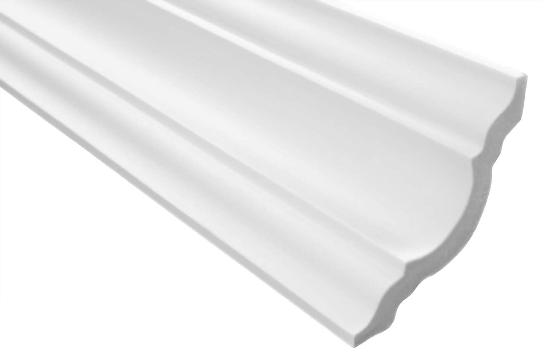 50 M/ètres Moulure en Stuc Professionnel Dur Blanc Lisse Marbet 80x80mm E-15 25 Faire blanc