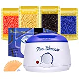 Wax Warmer – Boniss Hard Waxing Hair Removal Kit for Safe at Home Wax Melter with 15 Wax Applicator Sticks and 4 Flavors Hard Wax Beans 3.5 oz a Bag(Strawberry, Lavender,Milk,Chocolate)