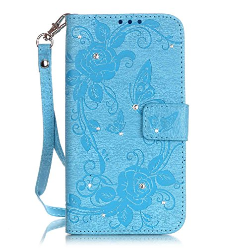 fan products of MokyoUS Samsung Galaxy J3 2016 Leather Wallet Case [Free Screen Protector],Butterfly Rose Flower Design Bling Glitter Diamante Embossed Folio Flip Magnetic Stand PU Leather Case Cover,Light Blue