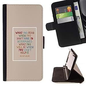 For Samsung Galaxy A5 ( A5000 ) 2014 Version Case , Oscar Wilde Cita Leer Libros inteligente- la tarjeta de Crédito Slots PU Funda de cuero Monedero caso cubierta de piel