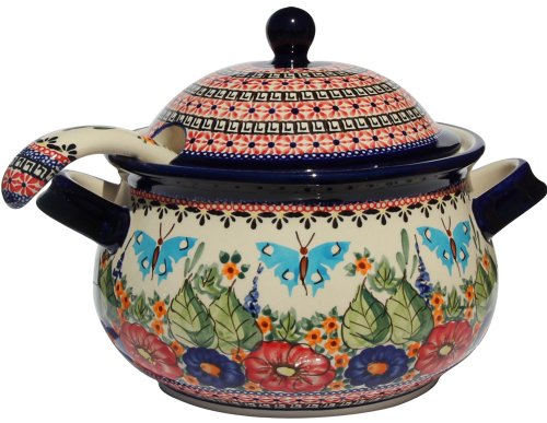 Polish Pottery Soup Tureen with Ladle Zaklady Ceramiczne Boleslawiec 1004/1367-149 Art Signature Pattern, 13.4 Cups - Polish Pottery Soup Tureen