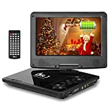 DR. J Professional 5 Hours 9.5 inch Swivel Screen Portable DVD Player With Built-In Rechargeable Battery And USB/SD Card Reader, 5.9'/1.8 m Car Charger And Battery Adapter