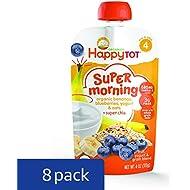 Happy Tot Organic Stage 4 Super Morning, Organic Bananas, Blueberries, Yogurt & Oats + Super Chia, 4 Ounce (Pack of 8)