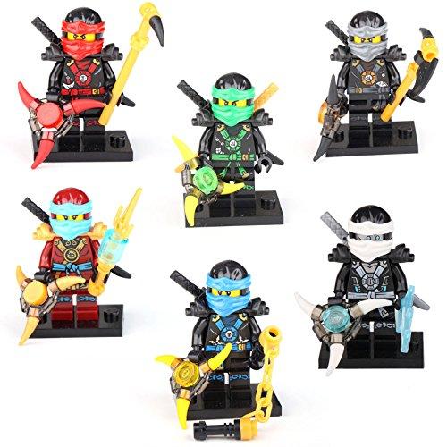 Ninja Turtles Costume Diy (6 X Minifigures Ninjago NINJA Jay Cole Nya Lioyd Zane Figures Building Toy LE GO)