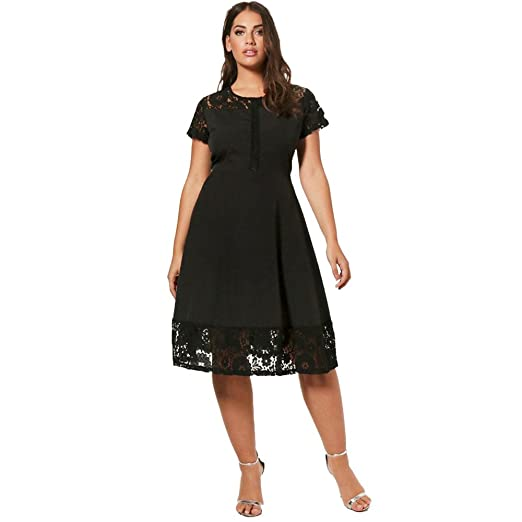 caac56568e8 Women Plus Size Short Sleeve Dress Floral Lace A-Line Casual Party Summer Midi  Dress