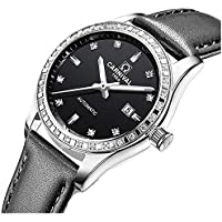 Womens Automatic Mechanical Watch Stainless Steel & Leather Band Sapphire Crystal Waterproof Date Watches (Black)