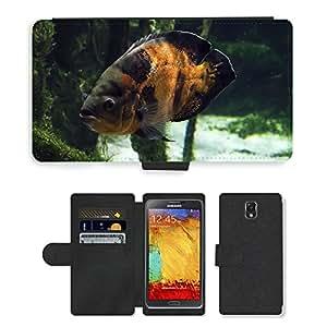 CARD POCKET BOOK CASE PU LEATHER CASE // M00146834 Fish Aquarium Jungle Sea Marine // Samsung Galaxy Note 3 III N9000 N9002 N9005