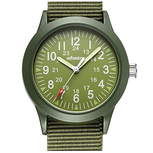 (INFANTRY Mens Army Military Field Analog Watch Green Nylon Quartz Wrist Watches for Men 12/24Hr)