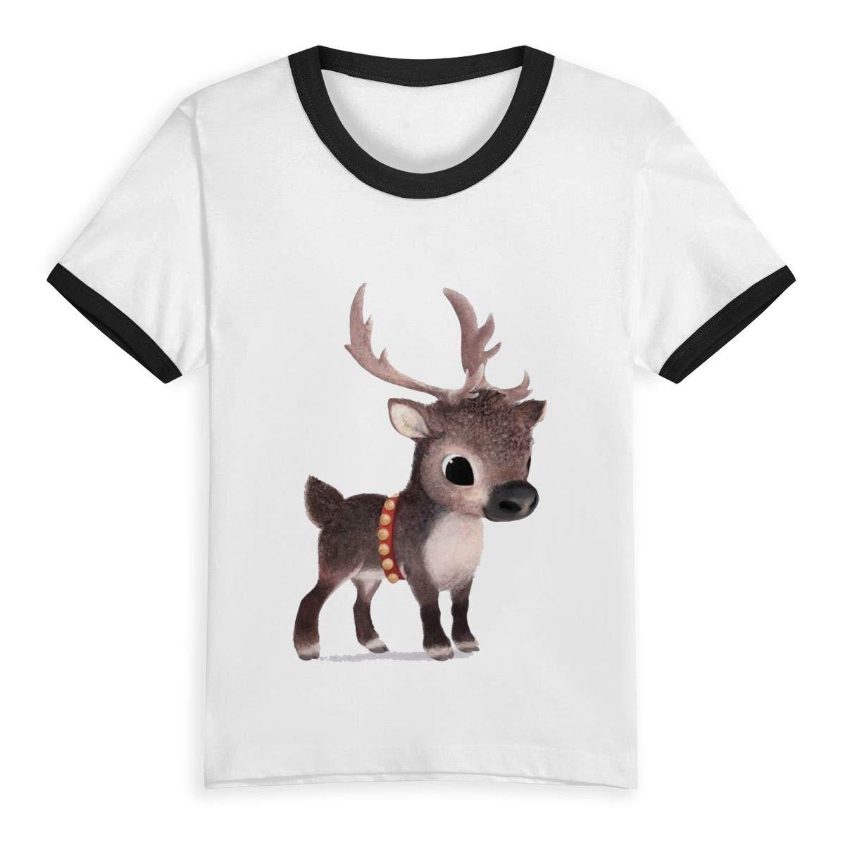 Gomop Reindeer Summer Basic Childrens Short Sleeve Tee Short T Shirts