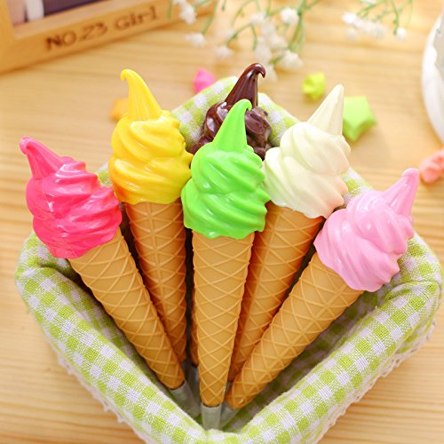 5 pcs Ice Cream Cute Ballpoint Pen Gel Pen Student Office Stationery Gift Chic - List Brands A-z Designer