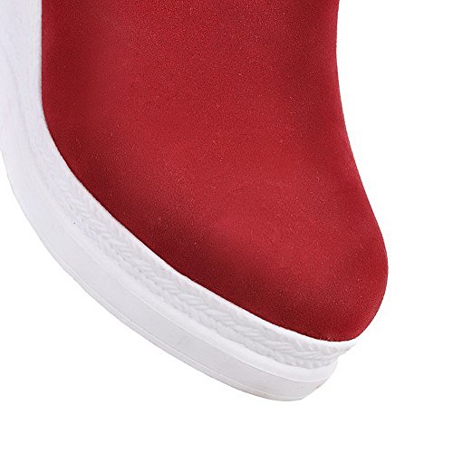 AllhqFashion Mujeres Sólido Gamuza(Imitado) Tacón Alto Sin cordones Puntera Redonda Botas Rojo