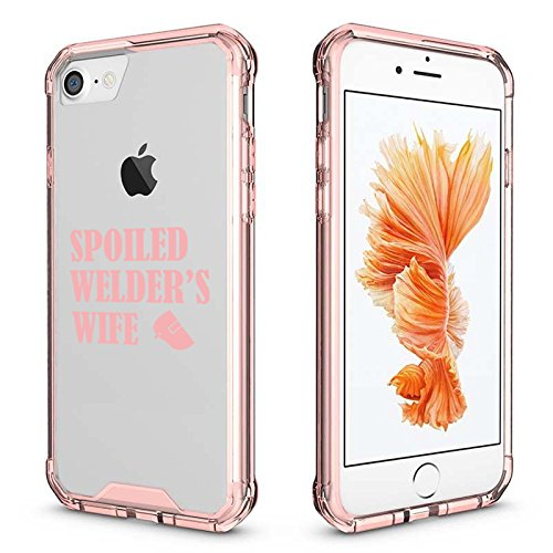 For Apple iPhone Clear Shockproof Bumper Case Hard Cover Spoiled Welder's Wife (Pink For iPhone 7 Plus)