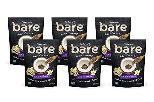 Crunchy Bites (Bare Crunchy Chia Coconut Bites, Chia + Vanilla, Gluten Free + Baked, Multi Serve Bag - 2.8 Oz (6 Count))