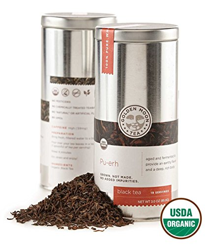Golden Moon Tea - Pu-erh Tea - Organic - Loose Leaf - Non GMO - 3oz Tin - 19...