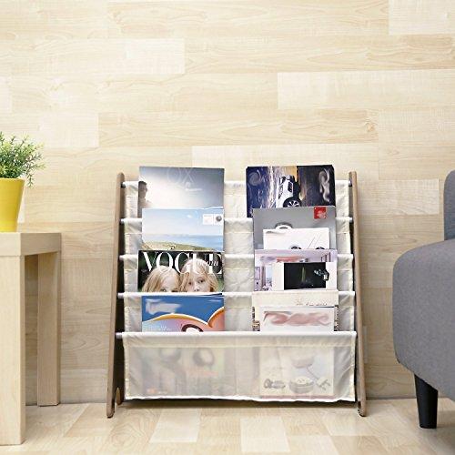 New HOMFA Kids Book Rack Storage Sling Bookshelf Toy Display For Children Espresso White