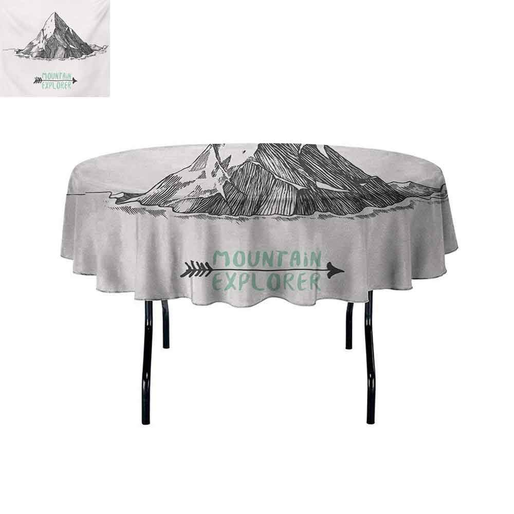 Explore Multiple Colors and Sizes Sketch Style Mountain with an Arrow Exploring Themed Illustration Can be Used for Parties D51 Inch Mint Green and Charcoal Grey
