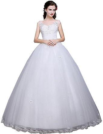 b18862c050d Shanghai Story Women s Wedding Gown for Bridal Lace Wedding Dress 2 White