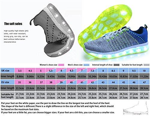 Freizeit Blau Schuh Ang Mr USB 7 Sportschuhe Herren Leuchtend Erwachsene Turnschuhe Kinder Unisex Grau Schuhe Farbe 1710 LED Sneakers Aufladen Damen Fuer 1P44dqExw