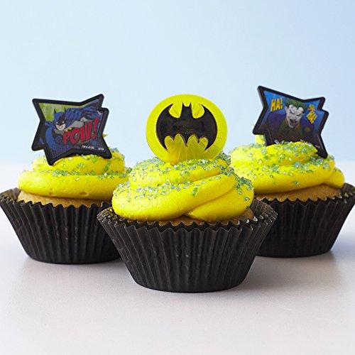 Batman Cupcake Rings Kit - (24) Batman Symbol Image Joker Toppers (30) Black Baking Cups (4oz) Blue Sugar Sprinkles