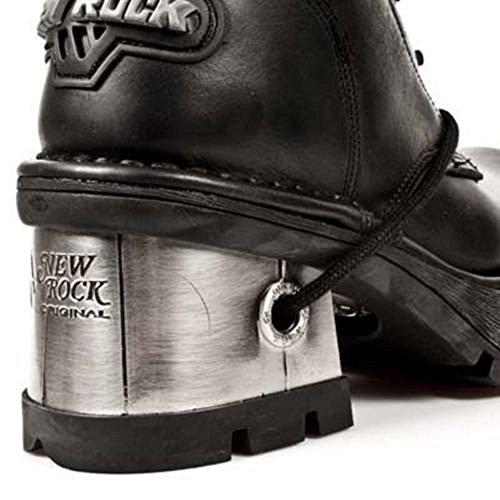 NEWROCK New Rock 236-S1 Ladies Black Leather Metal Heel Platform Knee Lace Boots RvP7Quk5q