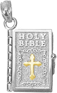 925 Sterling Silver Antiqued 3-D Bible Charm and Pendant