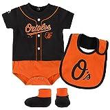 Baltimore Orioles Majestic Newborn & Infant Tiny Player Bib, Boodie & Bodysuit Set - Black