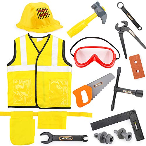 Construction Halloween Costumes (Children's Engineering Costume Dress Up Role Play Clothes Set Construction Worker Costume for Kids, Halloween Costume for 3 4 5 6 7 Years Boys and)