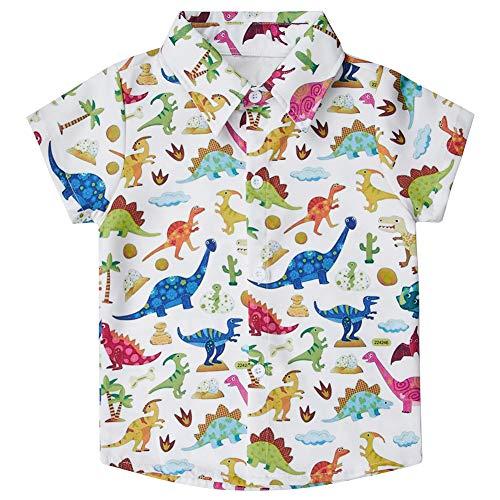uideazone Boys Dinosaur Button Down Shirts Children's Short Sleeve Dress Shirt Hawaiian Aloha Tops Lightweight and Skin-Friendly(Size ()