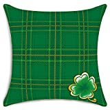 Smiry St. Patricks Day Decorative Throw Pillow Covers Classic Green Plaid Clover Cushion Cover Cotton Linen Pillowcase Home Decor 18x18 Inch