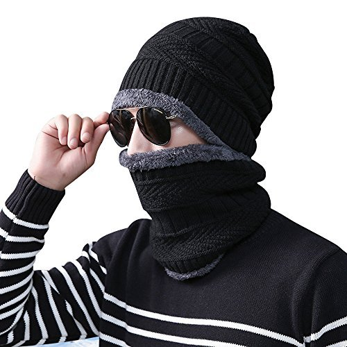Mens Winter Beanie Hat Scarf Set Women Lined Thick Knit Skull Cap