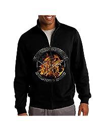 Men Supernatural Demonic Fury Silver Zip-up Jacket Hoodie Sweatshirt Black