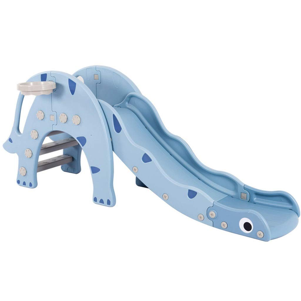 Freestanding Slides Children's Slide Indoor Dinosaur Slide Multi-Function Toy Small Folding Plastic Slide Baby Indoor Rock Climbing Slide 12-36 Month Old Baby (Color : Blue, Size : 173x74cm) by Freestanding Slides