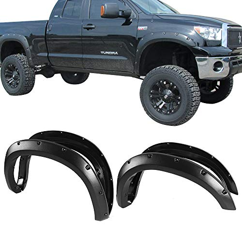 Fender Flares Fits 2007-2013 TOYOTA TUNDRA | Pocket Style Textured Black ABS Front Rear Right Left Wheel Cover Protector Vent by IKON MOTORSPORTS