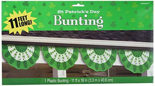 Shamrock Scalloped - Amscan Lucky Irish Green Saint Patrick's Day Plastic Scalloped Bunting Garland Party Decoration (Pack of 1), Multicolor, 11