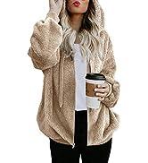 Nirovien Womens Full Zip Up Sherpa Hoodie Fuzzy Fleece Jacket Oversized Fluffy Coat with Pockets