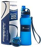 Freeday Gear Collapsible Water Bottle - 2 Leakproof Lids - 17 ounces - BPA Free