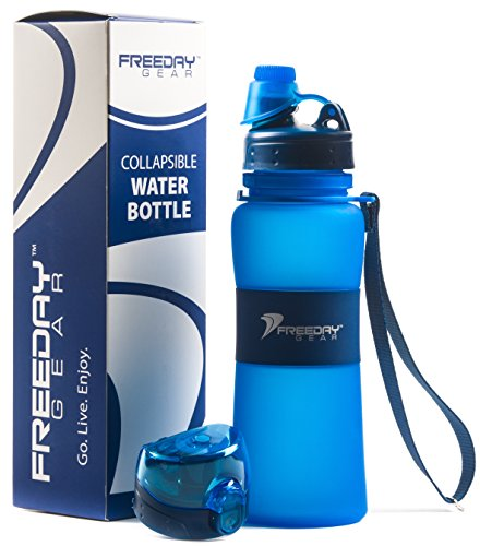 Freeday Gear Collapsible Water Bottle - 2 Leakproof Lids: Twist Cap and One touch - 17 ounces - BPA Free - Foldable with Carry Strap - Gift Box