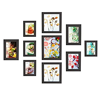 HOMFA 10pcs DIY Photo Frame Value Set, Picture Frames Wall Art Gallery Kit for Home Room Decor, Four 7x5 in, Three 8x6 in, Two 9x9 in, One 11x9 in, Black