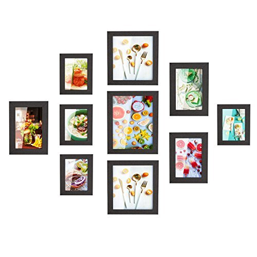Photo Diy Frame (HOMFA 10pcs DIY Photo Frame Value Set, Picture Frames Wall Art Gallery Kit for Home Room Decor, Four 6x4 in, Three 7x5 in, Two 8x8 in, One 10x8 in, Black)