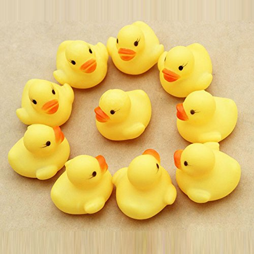 HunYUN Child Bath Toy Rubber Duck Ducky Duckie Baby Shower Birthday Favors One Dozen (12) ()
